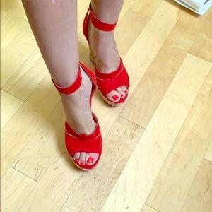 wedge heel red Nine West 7.5